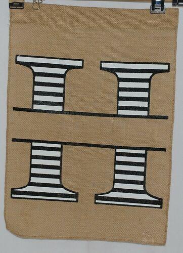 Kate Winston Brand Brown Burlap Monogram Black White H Garden Flag