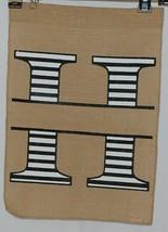 Kate Winston Brand Brown Burlap Monogram Black White H Garden Flag image 1