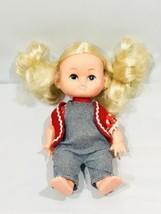 "Vintage Antique Kelly Doll Blonde Vinyl Made in Hong Kong 8 1/2"" Gingham... - $17.81"