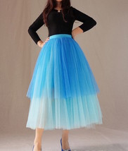 Women Tiered Tutu Skirt Hot Pink Red Tiered Tulle Skirt Party Dance Skirt Custom image 7