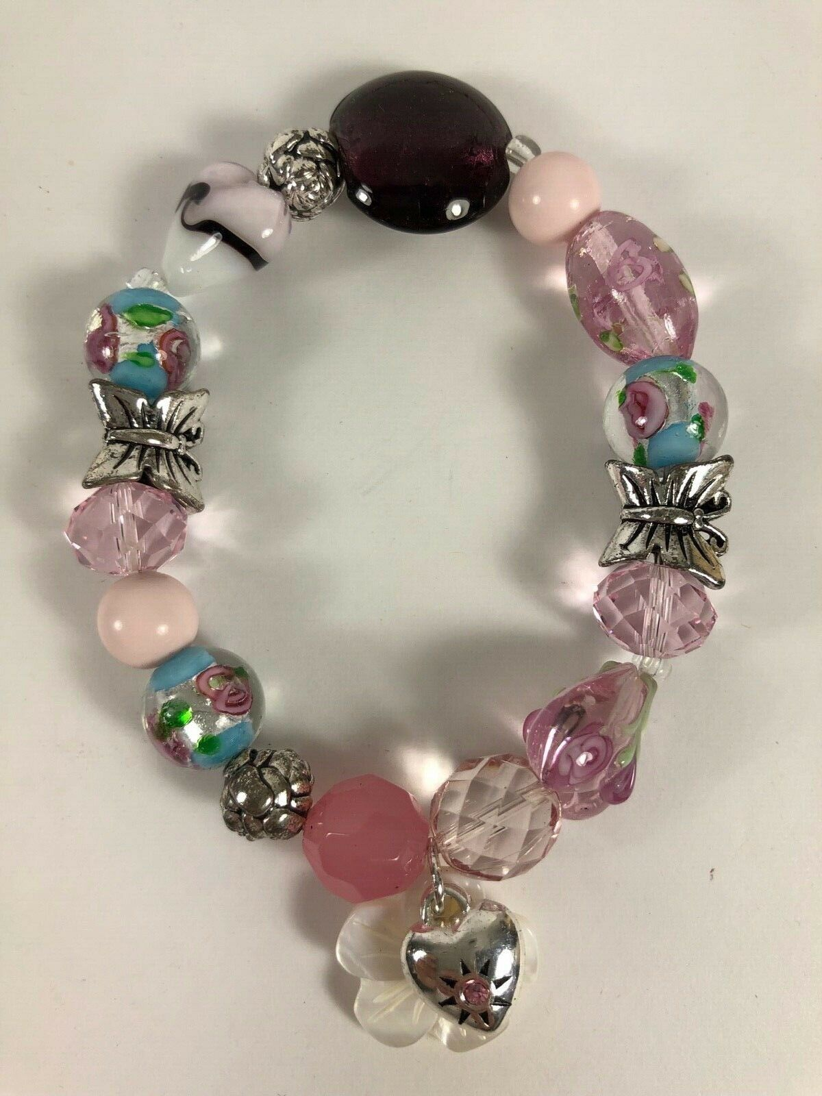 New AVON 2010 Beaded Floral Mop Arts Glass Silver Butterfly Stretch Bracelet