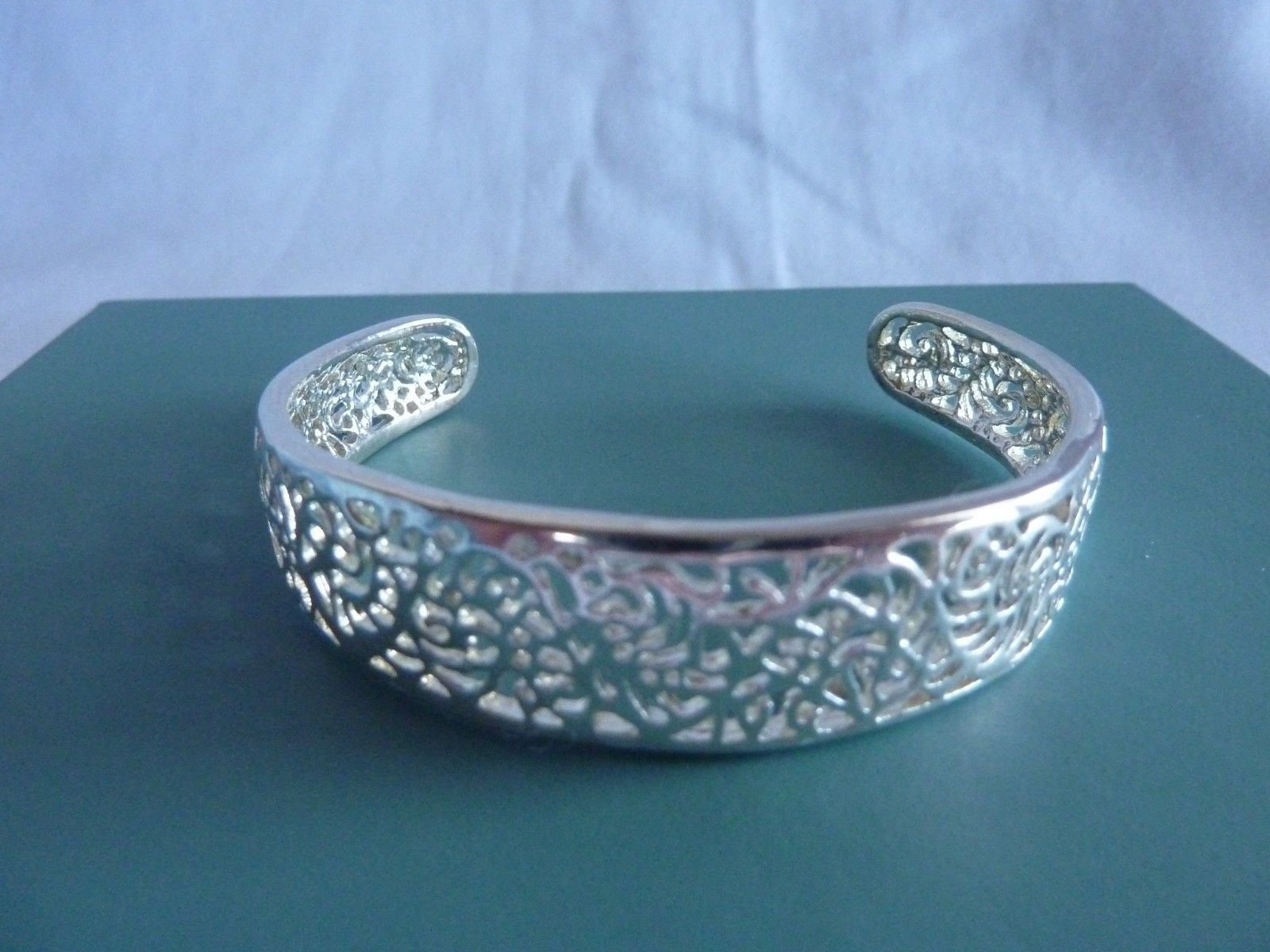 "Primary image for Sterling Silver Cuff Bracelet Filigree 1/2"" Wide Adjustable"