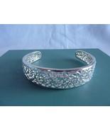 """Sterling Silver Cuff Bracelet Filigree 1/2"""" Wide Adjustable - $58.75"""