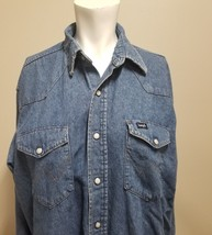 "Wrangler Woman's Denim Shirt Western Pearl Snap Reg Fit X Long Tails Chest 48"" - $24.19"