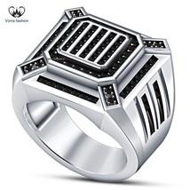 Men's Band Round Cut Black CZ White Gold Fn.925 Silver Engagement & Wedd... - $92.99