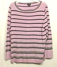 Talbots 2X Knit Top Shirt Purple Black Striped Long Sleeve Wool Classic A21 - $14.49