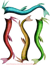 mermaid tails fins clip art die cuts clipart digital download craft prin... - $3.00
