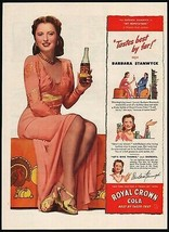 Vintage magazine ad ROYAL CROWN COLA from 1944 Barbara Stanwyck in My Reputation - $13.49