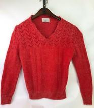 Vtg 70s Sears Jr Bazaar Sz L Red Sweater Contrast Chevron Stitch Pretty ... - $39.57