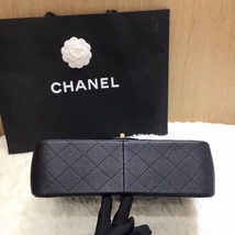 AUTHENTIC NEW CHANEL BLACK CAVIAR QUILTED JUMBO DOUBLE FLAP BAG SILVER HARDWARE image 3