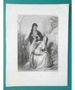 LEILA Sultan's Daughter & Her Slave - 1843 Steel Engraving Print - $16.20