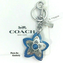 COACH Wildflower Keychain Handbag Backpack Charm Blue Glitter Star New - $49.49