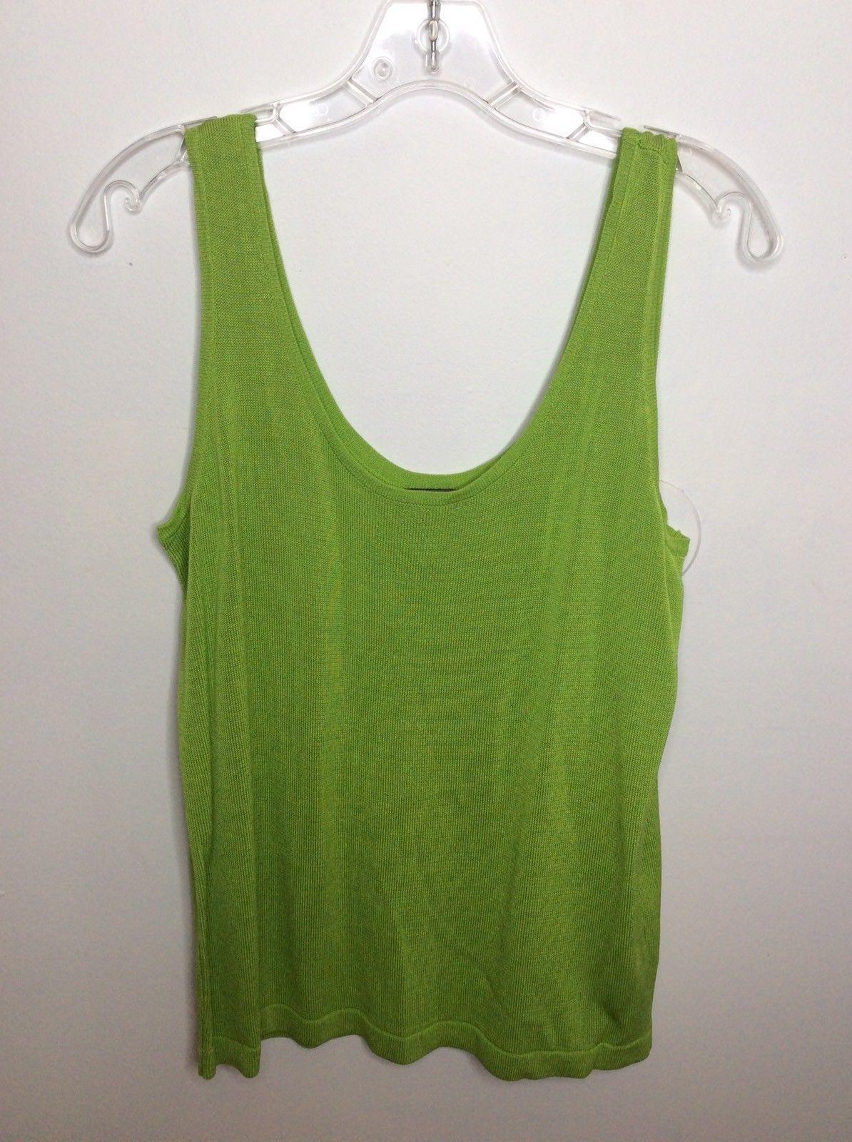 5e86069bb26623 S l1600. S l1600. Previous. Linda Allard Ellen Tracy Womens Lime Green  Rayon Sleeveless Tank Top Blouse Sz L
