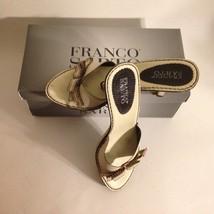 "FRANCO SARTO Leather Oriel Shoe Size 7M Kitten 2"" Heel Sandal Cream Vacation - $11.68"