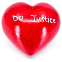 Vaneal Group Hand Carved Soapstone Justice/Mercy 2-Sided Red Heart Paperweight image 2