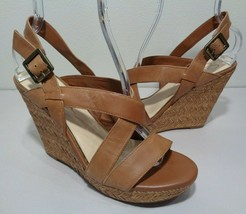Jessica Simpson Size 10 M JERRIMO Brown Leather Wedge Sandals New Women's Shoes - $107.91