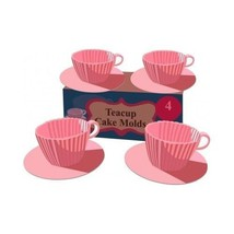 Pink Tea Cup Silicone Cupcake Mold Bakeware Baking Muffins Non-Stick Kit... - $18.69