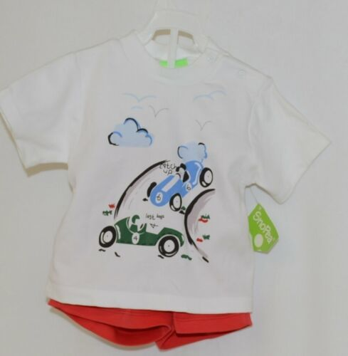 Snopea Two Piece Boys Short Set Race Cars Red Shorts White Shirt Size 12 Months
