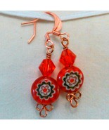 Red Crystal and Floral bead on Copper Earrings Handmade by Deboriah - $9.99