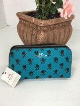 New Coach Cosmetic Bag F56724 Badlands Floral Turquoise Blue Black M1 - $63.69