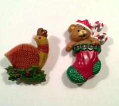 Vintage HALLMARK CARDS Christmas Bear Stocking Xmas Bird Pin Broach Broo... - $9.99