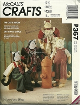 """McCALL'S CRAFTS P367 """"THE CATS MEOW"""" TOM & ALLIE CAT 21"""" PATTERN - $14.95"""