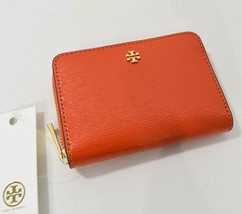 NWT Tory Burch Robinson Patent Leather Zip Coin Case in Spicy Orange - $89.00