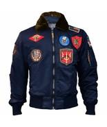 Top Gun Official B 15 Mens Flight Bomber Jacket with Patches Bleu - $328.03