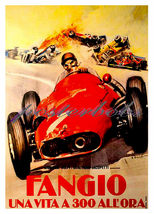 Fangio Automobile Racing Canvas Giclee 13 x 10 inch Print - $19.99
