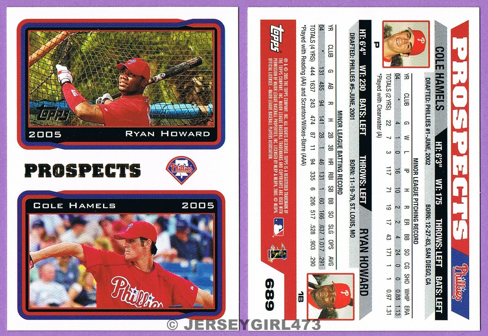 Ryan Howard & Cole Hamels 2005 Topps Prospects Phillies Baseball Rookie Card