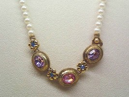 Vintage 1928 Faux PEARLS NECKLACE with Pink, Purple and Blue Crystals -1... - $38.00