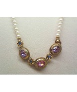Vintage 1928 Faux PEARLS NECKLACE with Pink, Pu... - $38.00