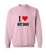 I Love Hot Dogs Crew Neck Sweatshirt-pink-L - $29.40