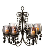 Six Candle Chandelier in  Iron, Smoked Glass, and acrylic bead  faceted ... - $29.95