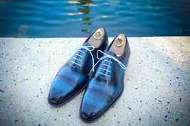 Two Tone Dark n Light Blue Color Superior Leather Lace Up Men Oxford Shoes - $139.99+