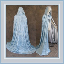 Medieval Gothic Hooded Velvet Cape Cloak 12th Century Clothing 7 Choice Colors image 3