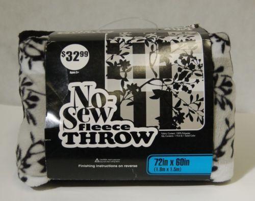 No Sew Fleece Throw Kit 11114568 Black White Floral Stripe Design 72 X 60 Inches