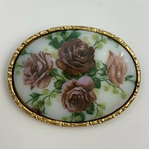 Vintage Painted Purple Pink Roses Brooch Pin Rose Porcelain Gold Tone Trim - $23.72