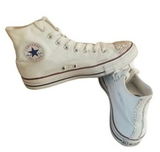 Women's 9 Converse Chuck Taylor All Star white Sequin High Top Sneakers Shoes    - $62.77