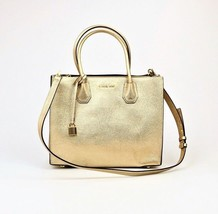 NWT- MICHAEL KORS MERCER LARGE LEATHER CONVERTIBLE TOTE PALE GOLD $298 - $146.99