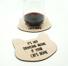 It's Not Drinking Alone If Your Cat's Home Drink Coasters Kitty Gift Set... - $300,74 MXN