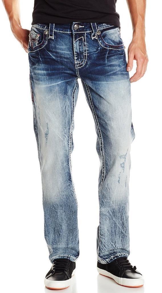 ROCK REVIVAL MEN'S STRAIGHT LEG DENIM JEANS WOVEN PANTS LEOTIS J4 size 42x34