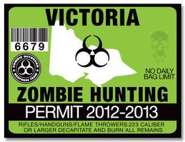 VICTORIA AUSTRALIA ZOMBIE HUNTING PERMIT TRUCK ... - $3.97