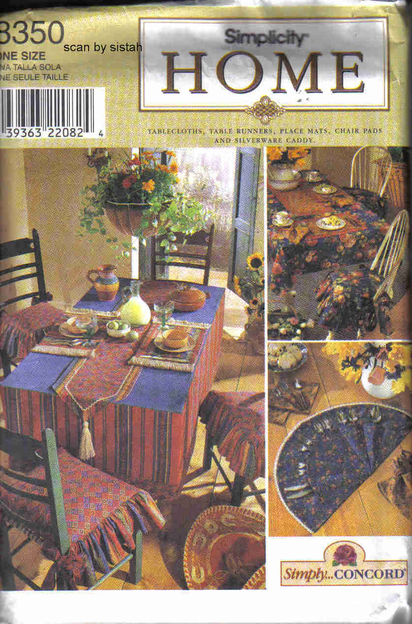 8350 pattern dining room kitchen table chair cover place mat napkins