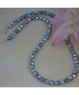 Czech Fire Polished Beaded Necklace of Stone Blue Luster  FREE SHIPPING - $27.00