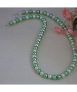 Mint & Light Yellow Glass Pearl Necklace  FREE SHIPPING - $28.00