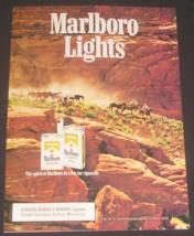1988 Marlboro Lights Cigarettes Magazine Ad, Cowboy / Western Theme - $8.50