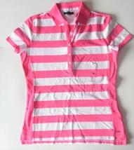 Tommy Hilfiger Womens Short Sleeve Polo Shirt Pink White Size Medium NWT - $21.03