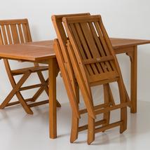 Armless Folding Chair,  Eucalyptus Patio Furniture Dining Collection image 4