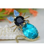 Vintage Cat Brooch Pin Turquoise Blue Rhinestones Prong Set - $22.95